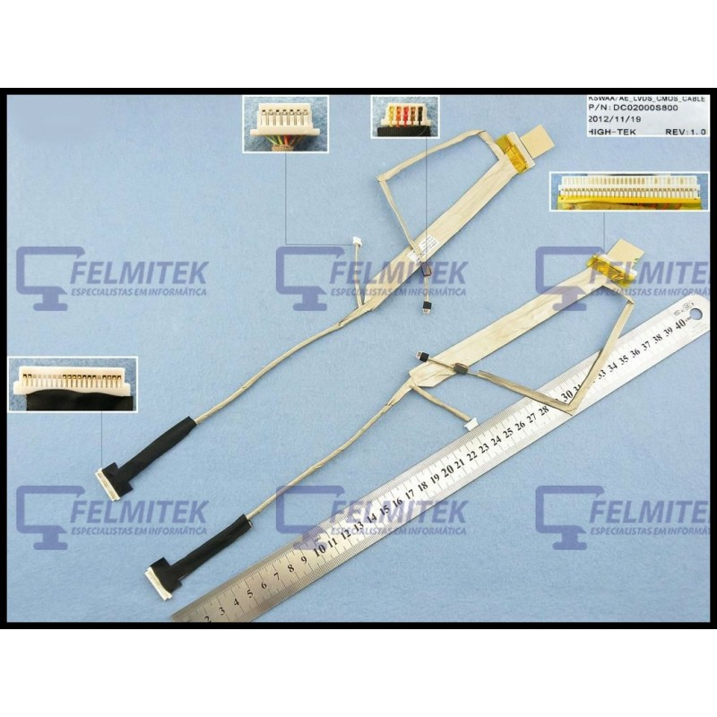 CABO FLAT CABLE ECRÃ LCD - TOSHIBA SATELLITE PRO L500, L500-1D1, L500-1D2, L500-1D3, L500D, L500D-137 SERIES – VERSÃO 1 CCFL - 1